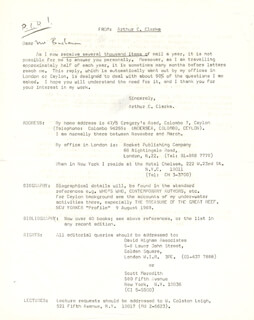 SIR ARTHUR C. CLARKE - PRINTED LETTER SIGNED IN INK 01/12/1972