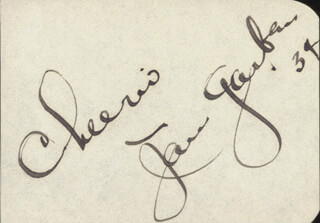 JAN GARBER - AUTOGRAPH SENTIMENT SIGNED 1934