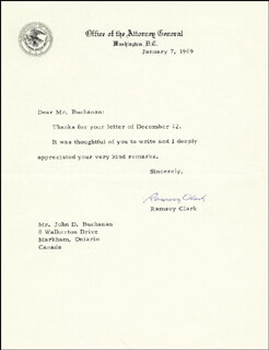 Autographs: RAMSEY CLARK - TYPED LETTER SIGNED 01/07/1969