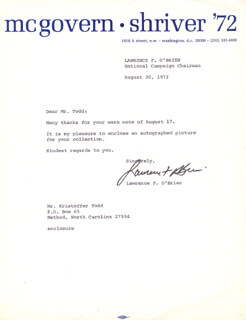 LAWRENCE LARRY O'BRIEN - TYPED LETTER SIGNED 08/30/1972  - HFSID 48567