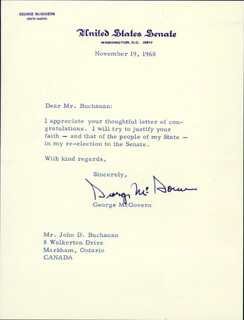 GEORGE MCGOVERN - TYPED LETTER SIGNED 11/19/1968