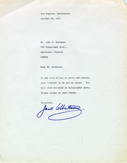 JACK ALBERTSON - TYPED LETTER SIGNED 10/19/1972