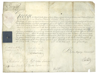 Autographs: KING GEORGE III (GREAT BRITAIN) - MILITARY APPOINTMENT SIGNED 07/29/1796 CO-SIGNED BY: PRIME MINISTER WILLIAM PORTLAND CAVENDISH-BENTINCK (GREAT BRITAIN)