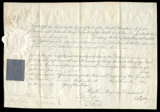 Autographs: KING GEORGE III (GREAT BRITAIN) - MILITARY APPOINTMENT SIGNED 12/14/1809 CO-SIGNED BY: RICHARD RYDER