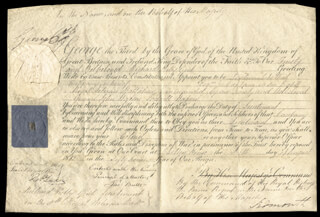 KING GEORGE IV (GREAT BRITAIN) - MILITARY APPOINTMENT SIGNED 08/05/1812 CO-SIGNED BY: HENRY (VISCOUNT SIDMOUTH) ADDINGTON