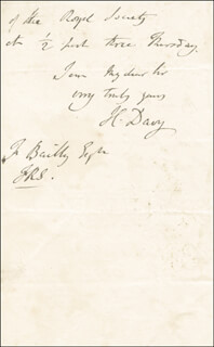 SIR HUMPHRY DAVY - AUTOGRAPH LETTER SIGNED 2/24
