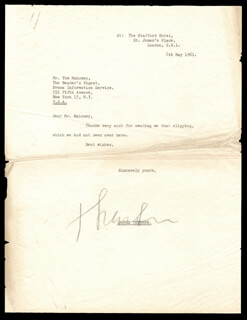 JAMES G. THURBER - TYPED LETTER SIGNED 05/08/1961