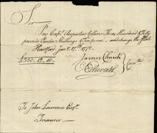CHIEF JUSTICE OLIVER ELLSWORTH - MANUSCRIPT DOCUMENT SIGNED 01/17/1778 CO-SIGNED BY: JAMES CHURCH, AUGUSTUS COLLINS