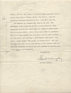 ASSOCIATE JUSTICE FRANK MURPHY - TYPED LETTER SIGNED CIRCA 1939