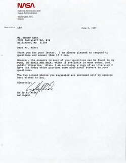Autographs: SALLY K. RIDE - TYPED LETTER SIGNED 06/02/1987