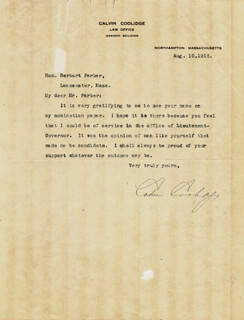 Autographs: PRESIDENT CALVIN COOLIDGE - TYPED LETTER SIGNED 08/10/1915