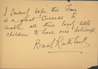 BASIL RATHBONE - AUTOGRAPH NOTE SIGNED