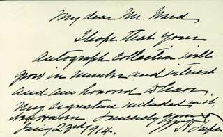 PRESIDENT WILLIAM H. TAFT - AUTOGRAPH LETTER SIGNED 01/23/1914