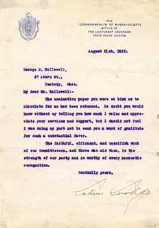 PRESIDENT CALVIN COOLIDGE - TYPED LETTER SIGNED 08/21/1917