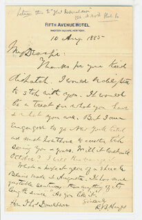 PRESIDENT RUTHERFORD B. HAYES - AUTOGRAPH LETTER SIGNED 08/10/1885