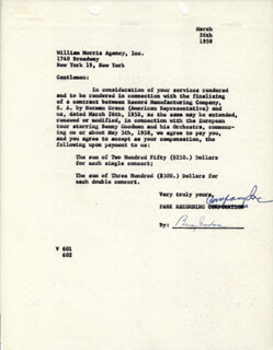 BENNY GOODMAN - CONTRACT SIGNED 03/26/1958