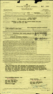 BENNY GOODMAN - CONTRACT SIGNED 09/28/1959