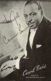 COUNT BASIE - INSCRIBED PICTURE POSTCARD SIGNED