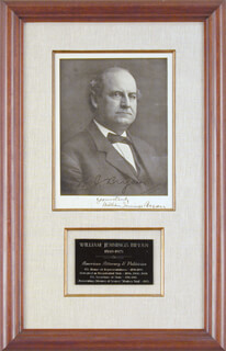 WILLIAM JENNINGS BRYAN - AUTOGRAPHED SIGNED PHOTOGRAPH