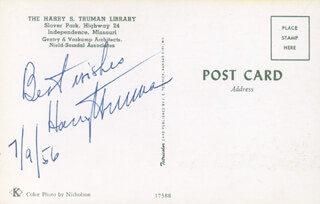 PRESIDENT HARRY S TRUMAN - PICTURE POST CARD SIGNED 07/09/1956