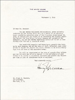 PRESIDENT HARRY S TRUMAN - TYPED LETTER SIGNED 09/05/1946