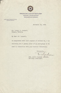 TESS CARLSON - TYPED LETTER SIGNED 11/13/1934