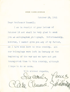 CLARA CLEMENS-GABRILOWITSCH - TYPED LETTER SIGNED 10/28/1921