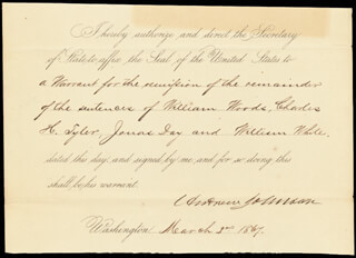 PRESIDENT ANDREW JOHNSON - PRESIDENTIAL WARRANT SIGNED 03/02/1867