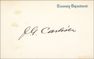 JOHN G. CARLISLE - PRINTED CARD SIGNED IN INK
