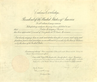 PRESIDENT CALVIN COOLIDGE - DIPLOMATIC APPOINTMENT SIGNED 01/21/1928 CO-SIGNED BY: FRANK B. KELLOGG