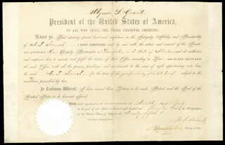Autographs: PRESIDENT ULYSSES S. GRANT - CIVIL APPOINTMENT SIGNED 07/09/1870 CO-SIGNED BY: HAMILTON FISH