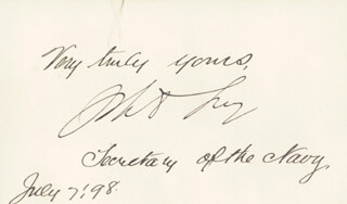Autographs: JOHN D. LONG - AUTOGRAPH SENTIMENT SIGNED 07/07/1898
