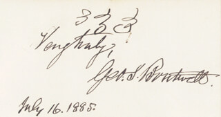 Autographs: GEORGE S. BOUTWELL - AUTOGRAPH SENTIMENT SIGNED 07/16/1885