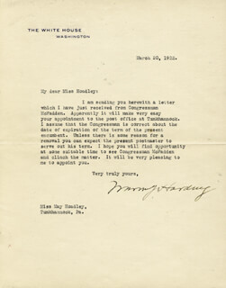 PRESIDENT WARREN G. HARDING - TYPED LETTER SIGNED 03/20/1922