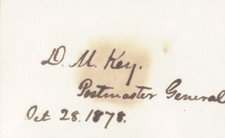 Autographs: DAVID M. KEY - SIGNATURE(S) 10/28/1878