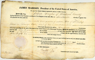 PRESIDENT JAMES MADISON - LAND GRANT SIGNED 08/26/1813 CO-SIGNED BY: EDWARD TIFFIN