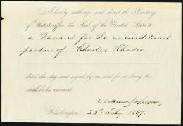 PRESIDENT ANDREW JOHNSON - PRESIDENTIAL WARRANT SIGNED 02/23/1867