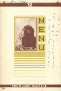 REAR ADMIRAL RICHARD E. BYRD - INSCRIBED MENU SIGNED 06/06/1939
