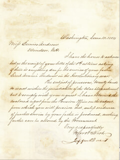 PRESIDENT JEFFERSON DAVIS (CONFEDERATE STATES OF AMERICA) - MANUSCRIPT LETTER SIGNED 06/10/1854