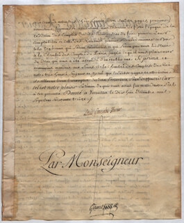 KING LOUIS XVIII (FRANCE) - MANUSCRIPT DOCUMENT SIGNED 12/18/1773