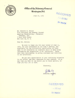 Autographs: ROBERT F. KENNEDY - TYPED LETTER SIGNED 06/20/1963