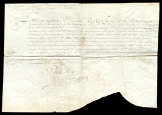 Autographs: KING LOUIS XV (FRANCE) - DOCUMENT UNSIGNED 10/1750