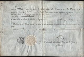 Autographs: KING LOUIS XVIII (FRANCE) - MILITARY APPOINTMENT SIGNED 08/22/1815 CO-SIGNED BY: LAURENT DE GOUVION SAINT-CYR