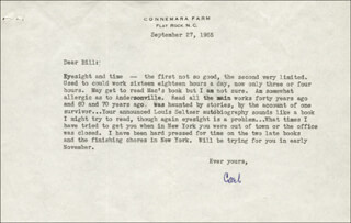 CARL SANDBURG - TYPED LETTER SIGNED 09/27/1955