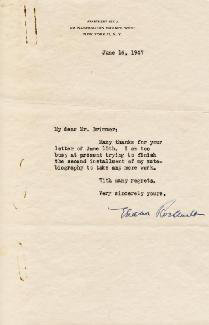 FIRST LADY ELEANOR ROOSEVELT - TYPED LETTER SIGNED 06/16/1947