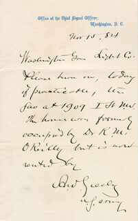 Autographs: MAJOR GENERAL ADOLPHUS W. GREELY - AUTOGRAPH LETTER SIGNED 11/15/1884