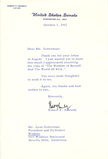 Autographs: ROBERT F. KENNEDY - TYPED LETTER SIGNED 10/03/1967