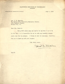 ROBERT A. MILLIKAN - TYPED LETTER SIGNED 07/01/1929