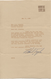 ROBERT TAYLOR - TYPED LETTER SIGNED 05/10/1938