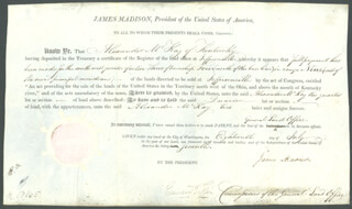 PRESIDENT JAMES MADISON - LAND GRANT SIGNED 07/18/1812 CO-SIGNED BY: EDWARD TIFFIN